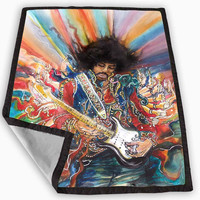 Colorful Jimi Hendrix Painting Blanket for Kids Blanket, Fleece Blanket Cute and Awesome Blanket for your bedding, Blanket fleece **
