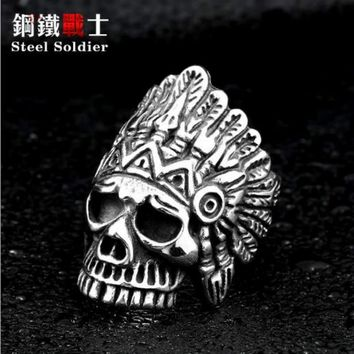 steel soldier chief indian ring 316l stainless steel men punk biker ring cool jewelry new arrival 2018