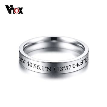 Vnox Silver Tone Stainless Steel Wedding Rings for Women Free Customized Engrave/Record Memorable Place Info
