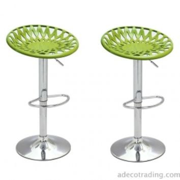 Adeco Height Adjustable Counter Bar Tractor Seat Stools, Set of 2, Lime Green - CH0141-2