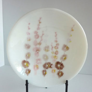 White Fused Glass Shallow Bowl with Hollyhocks
