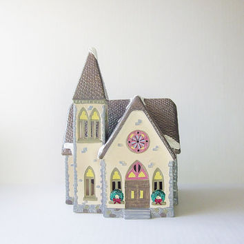 Redeemer Chapel Dept 56 Snow Village 1988 Lighted Ceramic Church Vintage House Home Decor Christmas Electrical Display Train Set Accessory