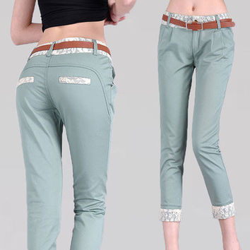 Women Candy Color Denim Capri Plus Size Jean Pants Skinny Casual Cropped Trousers Size (s/m/l/xl/xxl )