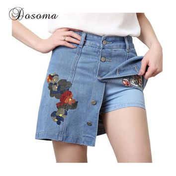 Plus Size High Waist Denim Shorts Skirts Women 2017 American Apparel Flower Embroidery Skirt Shorts Female Summer Jeans Shorts