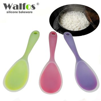 WALFOS food grade heat resistant Silicone Rice Spoon heat resistant Sushi Scoop Silicone plastic Rice Paddle