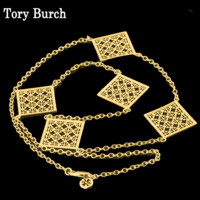 Tory Burch Fashion New Hollow Alloy Sweater Chain High Quality Personality Long Necklace Gold
