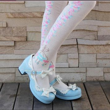 Japanese Lolita Shoes Princess Cute Low Heel Blue Purple Pink Bow Tie Cos Cosplay Maid Shoes