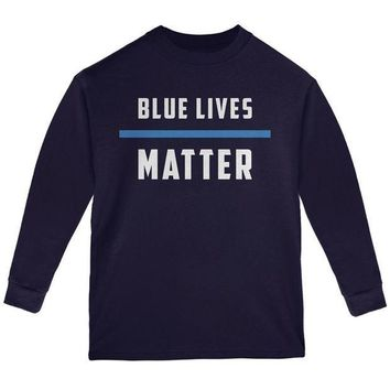 PEAPGQ9 Police Blue Lives Matter Thin Blue Line Youth Long Sleeve T Shirt