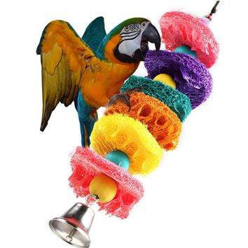 Pet Bird Parrot Parakeet Ball Loofah Toy  Chew Bites Cages Craft Birds Toys with Bell  Newest 1pc