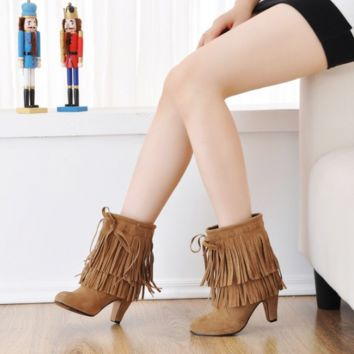 Tassel Ankle Boots High Heels Women Shoes Fall|Winter 9087