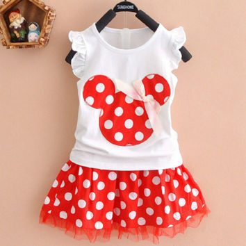 Lovely Kids Baby Girls Minnie Mouse Party Dress Vest DressToddler Clothes Girls Dress 1-4Y
