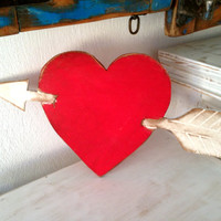 Red Heart Sign Wooden  Destressed Wall Art Beach Coastal Sign Outdoor And Indoor Beach Decor