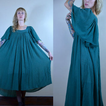 Vintage Mexican Cotton Lace Top Hunter Green Tent Dress