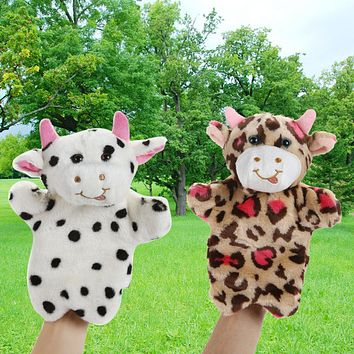 Animal Hand Puppet Toys Cute Milk Cow Doll Baby Toy Kids Child Educational Soft Plush Toy