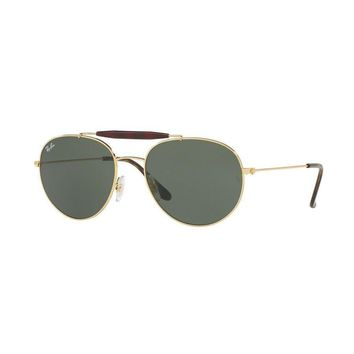 RayBan men / women Sunglasses 3ps Set Round Gold Metal Green Lens UV RB3540 NIB