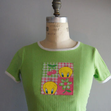 90s Neon Green Cartoon Club Kid Raver Crop Top T-Shirt