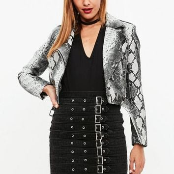 Missguided - White Faux Snake Biker Jacket