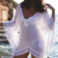 Sheer Bliss Lace Cover Up. Gorgeous Sheer White Lace Trim Swimsuit Kaftan