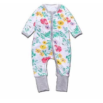 Baby Girls Clothes Floral Print Rompers For Girls Long Sleeve Baby Jumpsuit Newborn Clothing Winter