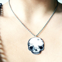 The Cutest little Skull - hand-drawn Acrylic pendant necklace - Tiny Goth Punk Piece