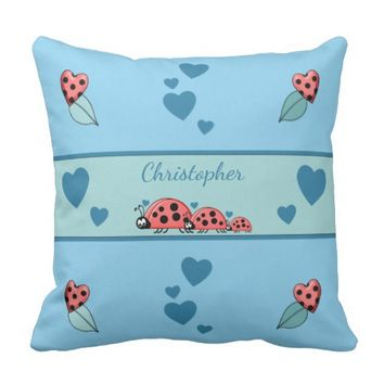 Ladybirds Cushion Pillow nursery decor blue