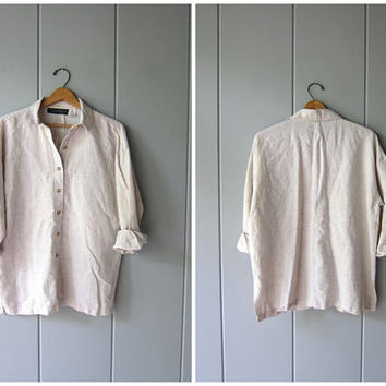 Natural Linen & Cotton Button Up Shirt 90s Linen Blouse Long Sleeve Casual Shirt Minimal Mens Linen Shirt Basic Button Up Mens Medium