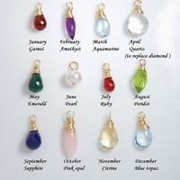 One tiny birthstone charm. Add a real gemstone / birthstone to your necklace, personalized necklace, personalize your jewelry,