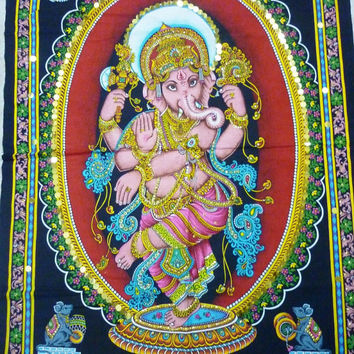Wall Hanging Tapestry Hindu God Dancing Ganesha Religion Ganapati Sequin India Good Luck Prosperity Free Shipping