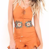 Embroidered Ruffle Romper