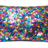 Multicolored Sequin Clutch-Personalized Bridesmaid Clutch-Bridesmaid Makeup Bag-Sequin Clutch Purse-Sequin Bridal Handbag-Sequin Evening Bag