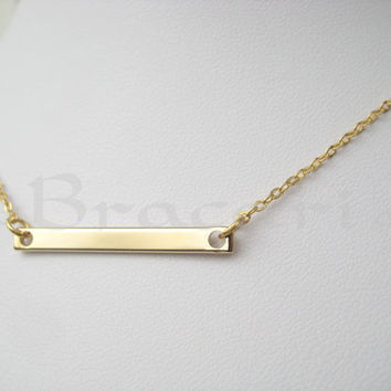 Gold Bar Necklace, Sideways Bar, Modern Minimalist Necklace, Bridesmaids Gifts, long bar necklace in gold, stick necklace