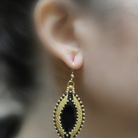 Black Oval Gold Earrings, Bridal Earrings, Dangle Beadwork Embroidery, Big, Bridesmaid, Silver Earrings Hooks