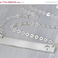 SALE Moissanite Bar Necklace - Gemstone Bar - Minimalist Jewelry - Silver Pendant - Sterling Silver Necklace - Moissanite Jewelry