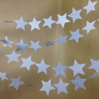 Silver Glittery, Shimmering Star Twinkle, Twinkle Garland Party Decor, Photo Prop, Holiday Decor, Classroom Decor, Etc