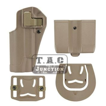 Tactical CQC Serpa Quick Left Hand Paddle Belt Loop Pistol Gun Holster w/ Magazine Pouch Mag Case for Colt 1911 M1911