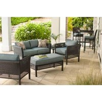 Hampton Bay, Fenton 4-Piece Patio Seating Set with Peacock and Java Patio Cushion, D9131-4PCKD at The Home Depot - Mobile