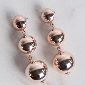 AKIRA Cushioned Post Metallic Tiered Sphere Earrings in Rose Gold