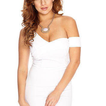 White Off Shoulders Sexy Clubwear Dress