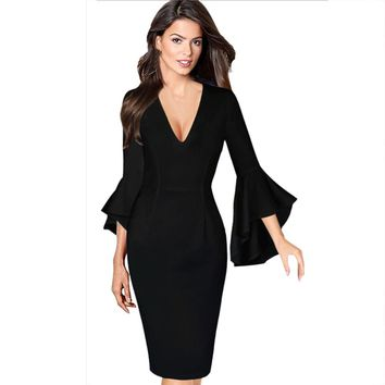Autumn winter dress vestidos Sexy Deep V-neck Flare Bell Long Sleeve Office Party Bodycon Dress