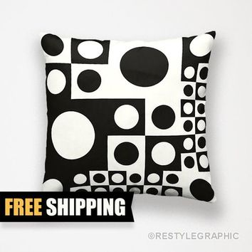 Black and white pillows, Decorative pillows, Abstract cushion, Free shipping by ReStyleGraphic