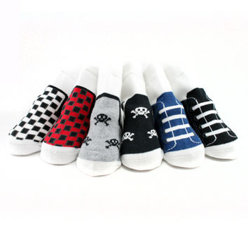 "BABY SOCKS THAT LOOK LIKE SHOES - BOYS ""SNEAKER"" #1 (6-pairs set)"