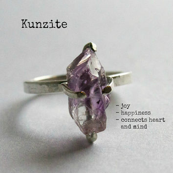 Raw pink ring sterling silver kunzite ring organic natural rough crystal gemstone ring