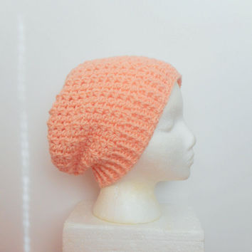 Peach Slouchy Beanie , ready to ship.