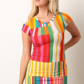 Color Striped Panel Ribbed Bodycon Dress