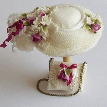 Pretty 1/12 scale handmade dollhouse miniature  silk hat and matching bag