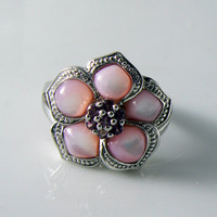 Affinity Sterling Silver Pink Mother Of Pearl Ruby Flower Ring