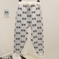 LMFIH3 GUCCI new autumn and winter fashion loose thick g letter pants harem pants White
