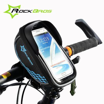 2017 ROCKBROS MTB Road Bike Bag Touch Screen Cycling Front Tube Frame Handlebar Bag Baskets Bicycle Bags Panniers For 5.5' Phone