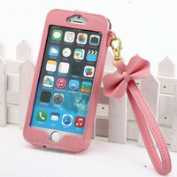 "New BOW Chain Wristlet Strap Pouch Leather Case for Apple iPhone 6 4.7"" 5.5 PLUS"
