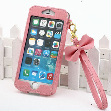"""New BOW Chain Wristlet Strap Pouch Leather Case for Apple iPhone 6 4.7"""" 5.5 PLUS"""